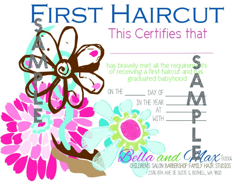 First Haircut Certificate | Bella and Max